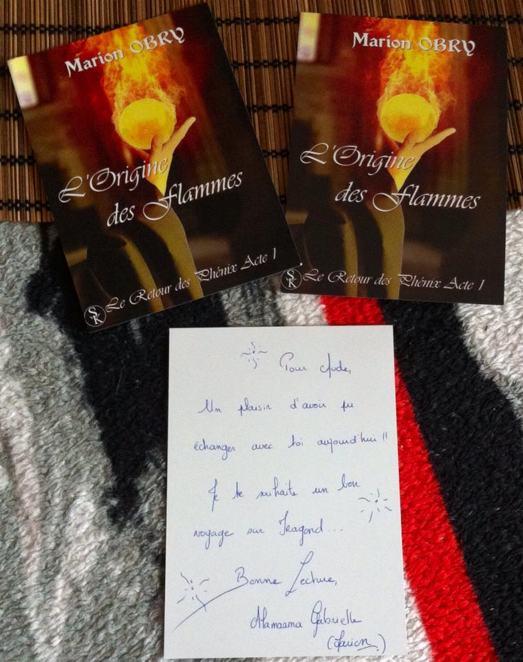 Dédicace de Marion Obry pour L'origine des flammes