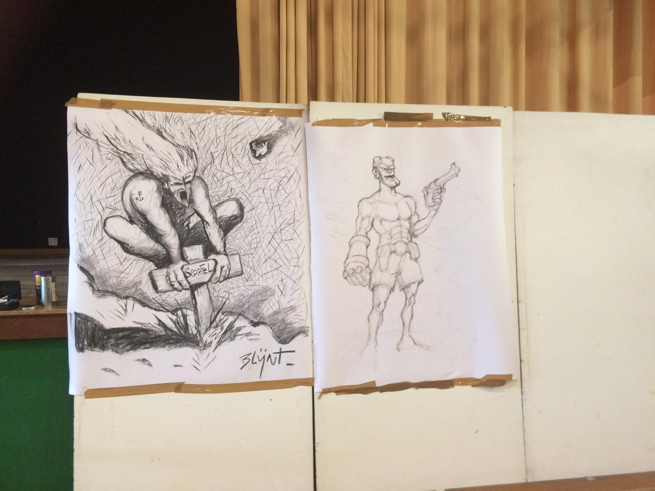 Battle d'illustrateurs ici Blÿnt et David Le Bec